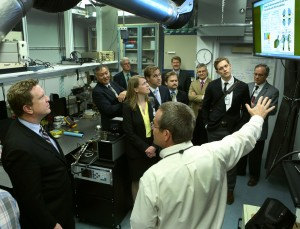 Paul Miles leads David Danielson, on the far left, and the rest of the group through the small-bore diesel/light-duty diesel laboratory.