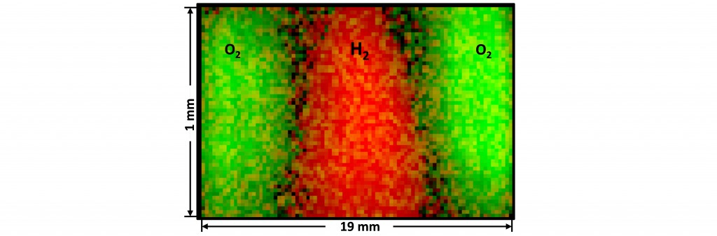 Figure. 3. Instantaneous multiplex imaging of reactants O2 (green) and H2 (red), in a combustion flow, as imaged with the signatures of the O2 Q-branch and the H2 S(3)-transition.