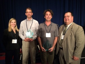 Two Sandians received the DOE Hydrogen and Fuel Cell Program achievement award. Pictured (from left to right) are Erika Sutherland (DOE FCTO), Brian Somerday, Chris San Marchi, and Will James (DOE FCTO).