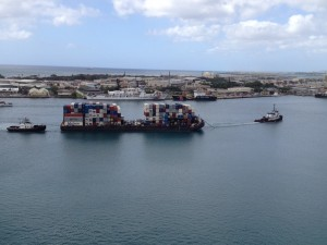 Auxiliary power through a hydrogen fuel cell may soon be piloted on the intra-island transport barge system in Hawaii. The fuel cell will replace the diesel generators used to supply power to containers on the barge.