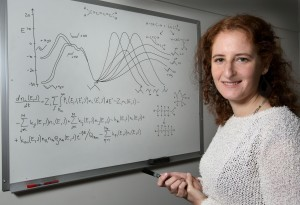 Judit Zádor's KinBot code looks for 3D structures in chemical reactions to automatically make predictions about behavior of potential reactions in combustion for a given molecule. With these predictions, scientists can identify the rates at which relevant reactions take place, information that is critical to understanding combustion. (Photo by Dino Vournas)
