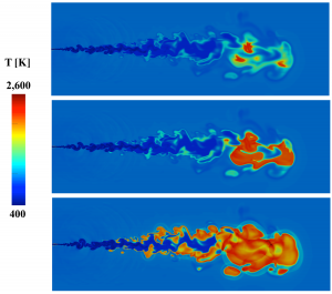 This image of a liquid n-dodecane jet auto-igniting was created by coupling LES model calculations with an optimized chemical model. After systematic validation to compare the modeled results with available experimental data, models such as this can be used to gain insight into complex physics that cannot be obtained from the experiments alone.
