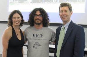 Joseph Barchas (middle) receives congratulations from Michelle Strecker and Randy Hulet, who was Kevin Strecker's graduate advisor.