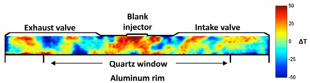 Figure 4. Side-view T-map image showing the thermal stratification in the bulk-gas and near-wall regions at TDC (360° CA).