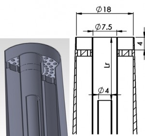 Figure 1. Isometric solid model of the piloted burner and cutaway schematic with dimensions in mm.