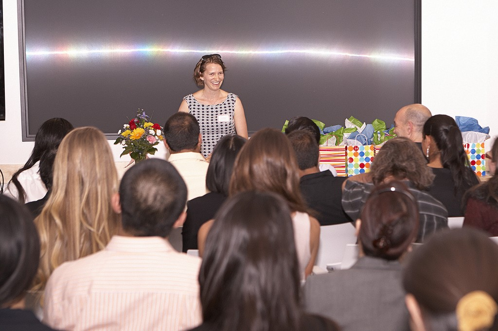 Patricia Ghargazloo shares her career path with the award recipients and her families.