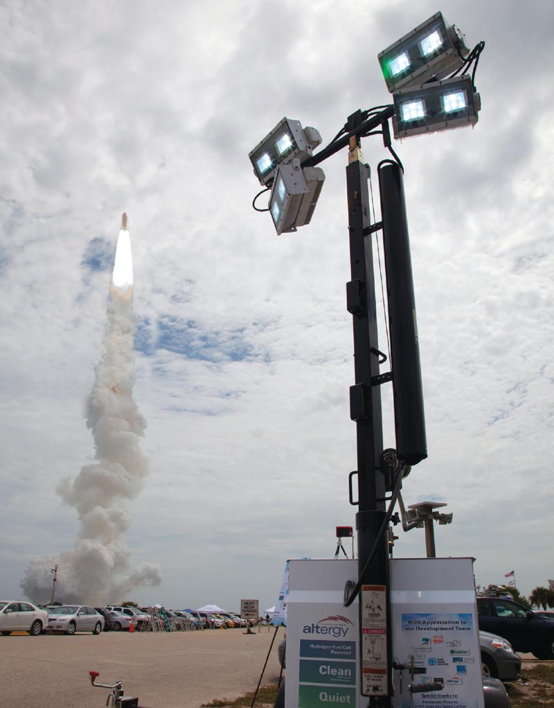 The Mobile Fuel Cell Light was deployed to the site of the final space shuttle launch (July, 2011) and observed by visitors, shuttle astronauts and members of the international media.